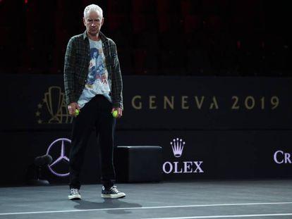 McEnroe, durante un entrenamiento de la Laver Cup, el pasado mes de septiembre en Ginebra.