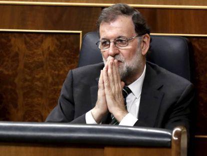 Mariano Rajoy durante la sesión de control al Gobierno en el Congreso.