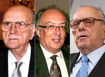 Los ex presidentes Gerardo Fernández Albor, Fernando González Laxe y Manuel Fraga.