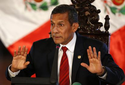 El presidente Humala habla ante la prensa internacional.