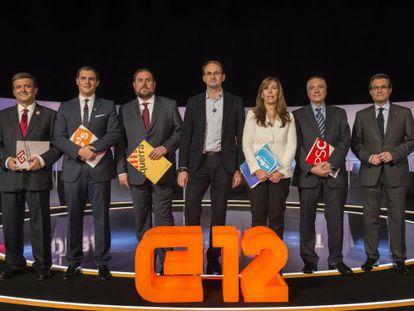 Los candidatos a presidir la Generalitat en el debate electoral de TV-3.