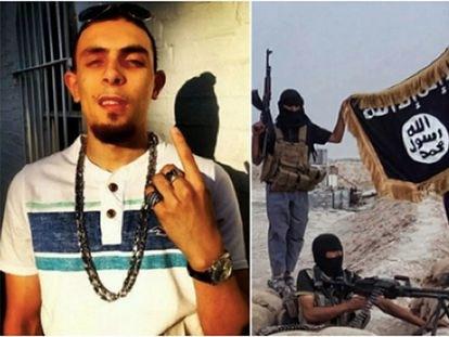 A la izquierda, Abdel Bary. A la derecha, una fotografía del grupo del ISIS al que pertenecía.