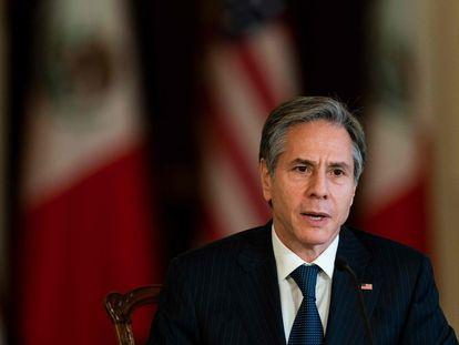 El secretario de Estado de Estados Unidos, Antony Blinken, este viernes en Washington durante una videoconferencia con autoridades mexicanas.