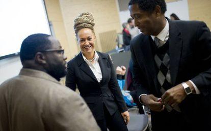 Rachel Dolezal, durante un encuentro en la sede de NAACP.