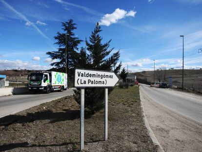 Entrada a la planta de tratamiento de residuos de Valdemingómez.