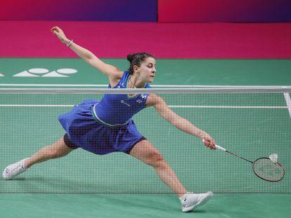 Carolina Marin durante la final del Europeo en Kiev.