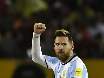 Messi celebra uno de los goles de Argentina.