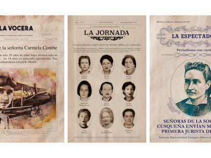 Este conjunto de portadas recoge los protagonismos de las mujeres peruanas en un espacio masculinizado como el mundo obrero.
