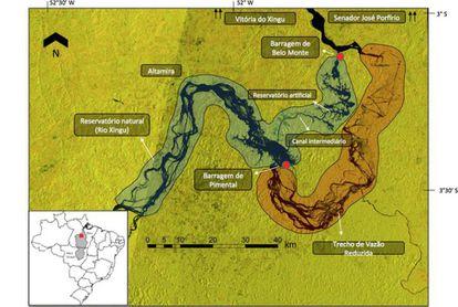 Mapa de la obra de la Central Hidroeléctrica de Belo Monte.
