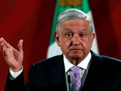 El presidente mexicano, Andrés Manuel López Obrador, en su comparecencia ante los medios de comunicación de este lunes.