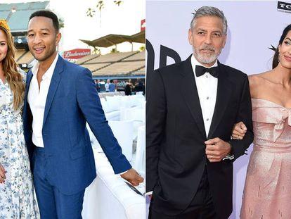 Izquierda, Chrissy Teigen y John Legend; derecha, George y Amal Clooney.