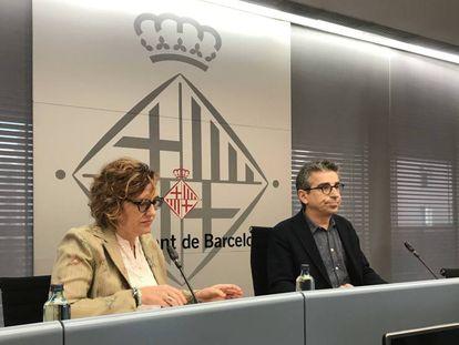 Los concejales Monsterrat Ballarín y Jordi Martí, en la presentación del presupuesto.