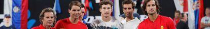 Roig, Nadal, Bautista, Carreño, Ramos y Feliciano, en enero en la ATP Cup. /