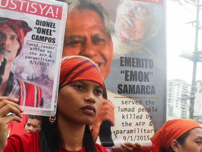 Protestas por el asesinato de ecologistas, el pasado septiembre en Mindanao, Filipinas.