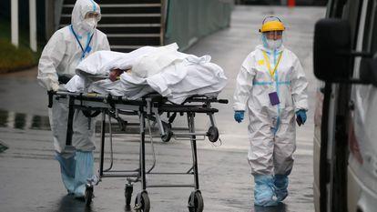 Personal sanitario transporta a un paciente en el hospital Kommunarka de Moscú, el 14 de octubre.