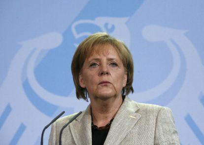 La canciller alemana, Angela Merkel, durante una rueda de prensa.