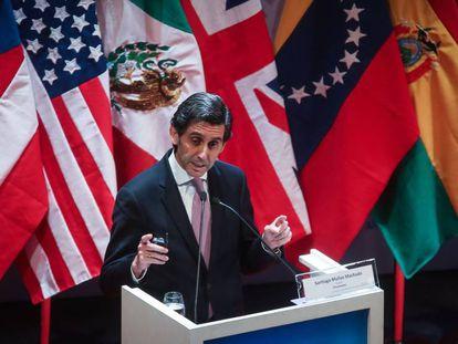El presidente de Telefónica José María Álvarez-Pallete, este miércoles, en el Congreso de la Lengua.