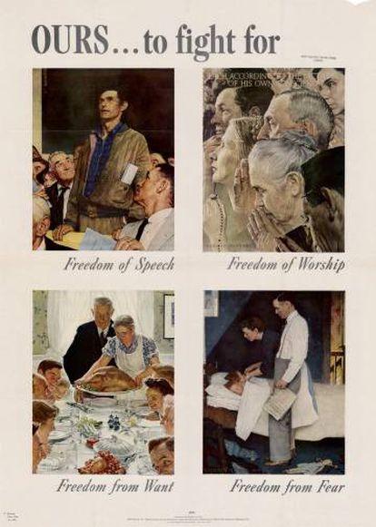 Las ilustraciones de Norman Rockwell basadas en las libertades fundamentales de Roosevelt que publicó 'The Saturday Evening Post'.