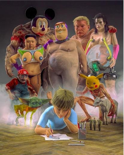le Buzz Lightyears nu sans parties génitales, le Kim Jong-un avec des seins, le Dalinian Pikachu ou le fanatique de gym Winnie l'ourson.
