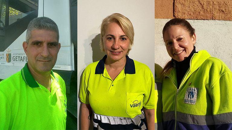 Raúl Fernández, Rocío Risueño y Eva González, tres trabajadores del sector de recogida y clasificación de basura.