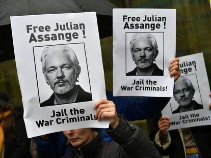 Manifestación en apoyo de Julian Assange, en Londres, el 21 de octubre de  2019.