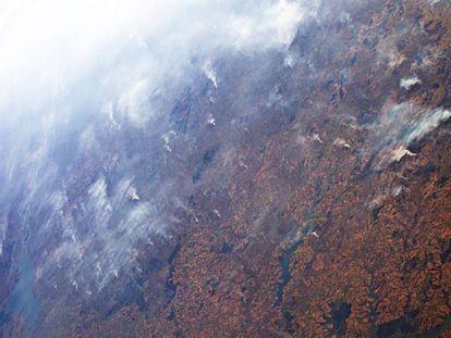 Incendios en la Amazonia vistos desde la Estación Espacial el día 24 de agosto de 2019.