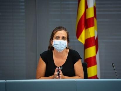 La concejal de Salud del Ayuntamiento de Barcelona, Gemma Tarafa, durante una rueda de prensa el 13 de julio.