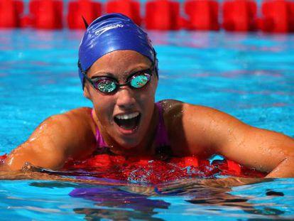 Marina García, exultante, tras nadar los 200 braza.