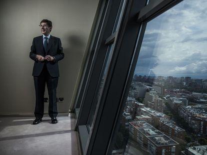 El presidente de Bankia, José Ignacio Goirigolzarri, en la sede del banco en Madrid, antes de la entrevista.