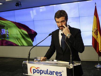 Pablo Casado, este lunes en la sede del PP.
