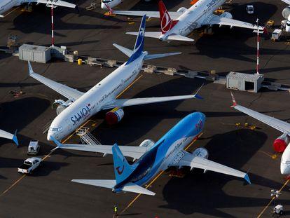Aviones Boeing 737 MAX aparcados en Seattle, Washington, en junio.