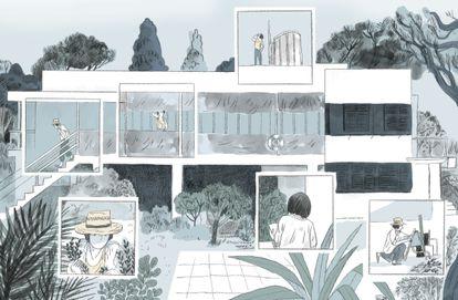 Una página de 'Eileen Gray. Una casa bajo el sol', de Charlotte Malterre-Barthes y Zosia Dzierżawska, editado por Aloha.