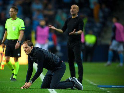 Thomas Tuchel y Pep Guardiola, en la final de la Champions League en Oporto.