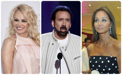Pamela Anderson, Nicolas Cage e Isabel Preysler.