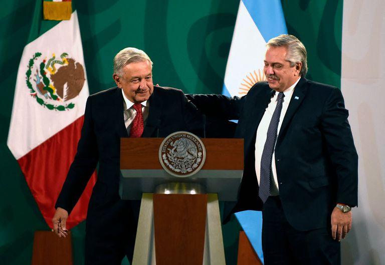 Los presidentes Andrés Manuel López Obrador y Alberto Fernández, este martes en Palacio Nacional.