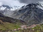 A view towards Sotres from Invernales de La Caballa in the Picos de Europa National Park. (Photo by: Loop Images/Universal Images Group via Getty Images)