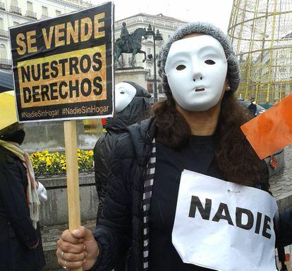 Manifestación en Madrid por los derechos de las personas sin hogar.