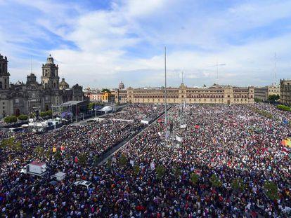 Vista del Zócalo durante el discurso de López Obrador este lunes.