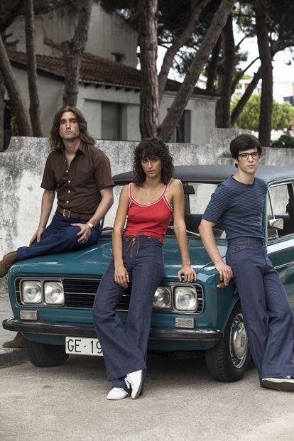 El trío protagonista de la película 'Las leyes de la frontera'. Desde la izquierda, El Zarco (Chechu Salgado), Tere (Begoña Vargas) y Nacho (Marcos Ruiz).
