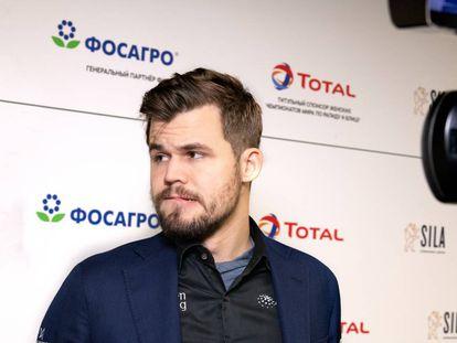 Magnus Carlsen, durante el Mundial de Rápidas de Moscú, en la Navidad de 2019