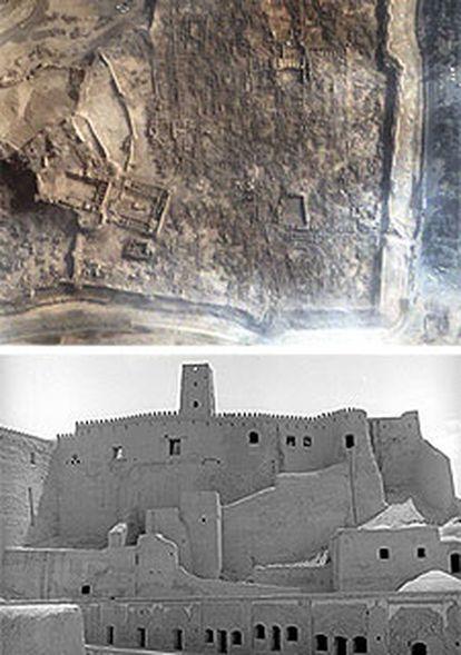 Imagen tomada por satélite el pasado 29 de diciembre de los restos de la ciudadela de Bam, arriba, y fotografía de la fortaleza tal y como se conservaba en 1978.   / REUTERS