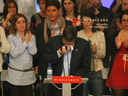 El lehendakari, Patxi López, no pudo contener las lágrimas en varios momentos de su intervención