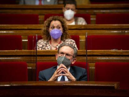 El consejero de Economía, Jaume Giró, durante la primera sesión de control al Govern en el Parlament de esta legislatura.