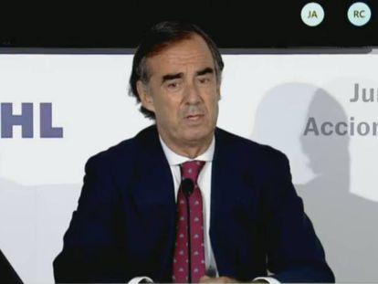 El presidente de OHL, Juan Villar Mir de Fuentes, durante la junta de accionistas de la constructora.