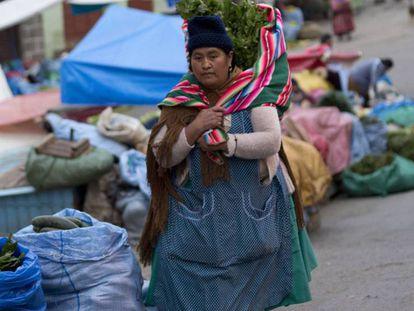 Una mujer en un mercado callejero de La Paz, en Bolivia.