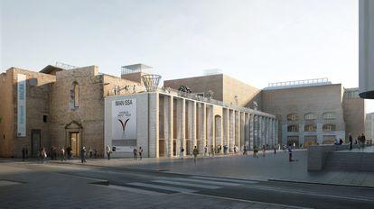 Imagen virtual de la propuesta presentada por H Arquitectes y Christ & Gantenbein para ampliar el Macba que se ha dado a conocer este miércoles.