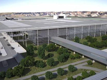 Recreación de la nueva terminal unificada del aeropuerto de Barajas.