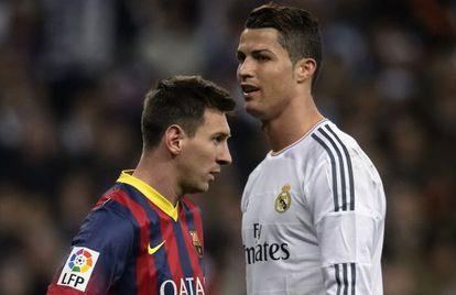 El argentino Messi (i) y Cristiano Ronaldo (d) en un encuentro de 2014.