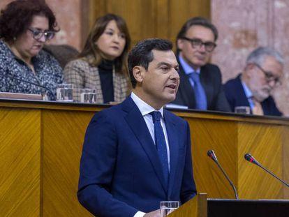Juan Manuel Moreno Bonilla, durante su discurso este martes. En vídeo: discurso del candidato a la presidencia de la Junta de Andalucía.