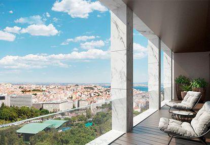 Una de las viviendas de lujo del edificio de la rua Castilho, en Lisboa, donde el futbolista tiene su ático, con vistas al parque Eduardo VII.